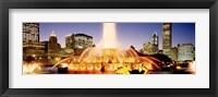Framed Fountain lit up at dusk, Buckingham Fountain, Chicago, Illinois, USA