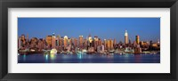 Framed Panoramic View of New York City from the Water at Night