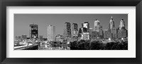 Framed Philadelphia, Pennsylvania Skyline at Night (black and white)