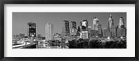 Framed Philadelphia, Pennsylvania Skyline at Night (black and white)