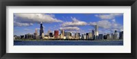 Framed USA, Illinois, Chicago, Panoramic view of an urban skyline by the shore