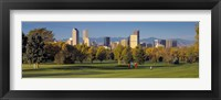 Framed USA, Colorado, Denver, panoramic view of skyscrapers around a golf course