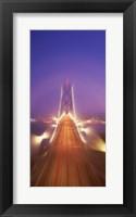 Framed High angle view of suspension bridge, Oakland Bay Bridge, San Francisco, California, USA