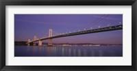 Framed Low angle view of a bridge at dusk, Oakland Bay Bridge, San Francisco, California, USA