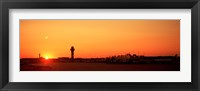 Framed Sunset Over An Airport, O'Hare International Airport, Chicago, Illinois, USA