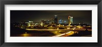 Framed Buildings Lit Up At Night, Kansas City, Missouri, USA