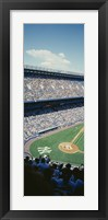 Framed High angle view of spectators watching a baseball match in a stadium, Yankee Stadium, New York City, New York State, USA