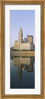Framed Reflection of buildings in a river, Scioto River, Columbus, Ohio, USA