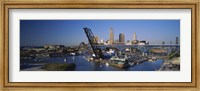 Framed High angle view of boats in a river, Cleveland, Ohio, USA