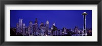 Framed Seattle Skyline at Night