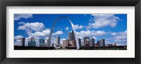 Framed Metal arch in front of buildings, Gateway Arch, St. Louis, Missouri, USA