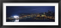 Framed High angle view of buildings lit up at night, Heinz Field, Pittsburgh, Allegheny county, Pennsylvania, USA