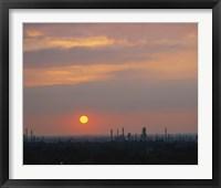 Framed Sunset over a refinery, Philadelphia, Pennsylvania, USA