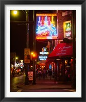 Framed Neon sign lit up at night in a city, Rum Boogie Cafe, Beale Street, Memphis, Shelby County, Tennessee, USA