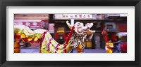 Framed Group of people performing dragon dancing on a road, Chinatown, San Francisco, California, USA