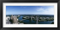 Framed High angle view of a river passing through a city, Austin, Texas, USA