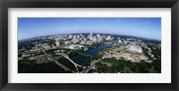 Framed Bird's Eye view of Austin,Texas