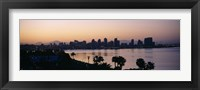 Framed Silhouette of buildings at the waterfront, San Diego, San Diego Bay, San Diego County, California, USA