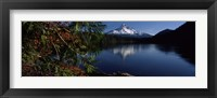 Framed Reflection of a mountain in a lake, Mt Hood, Lost Lake, Mt. Hood National Forest, Hood River County, Oregon, USA