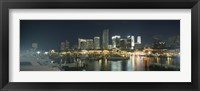 Framed Boats at a harbor with buildings in the background, Miami Yacht Basin, Miami, Florida, USA