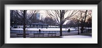 Framed Group of people in a public park, Frog Pond Skating Rink, Boston Common, Boston, Suffolk County, Massachusetts, USA