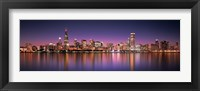 Framed Reflection of skyscrapers in a lake, Lake Michigan, Digital Composite, Chicago, Cook County, Illinois, USA