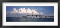 Framed Suspension bridge across the bay, Sunshine Skyway Bridge, Tampa Bay, Gulf of Mexico, Florida, USA