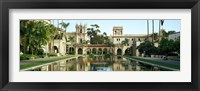 Framed Reflecting pool in front of a building, Balboa Park, San Diego, California, USA