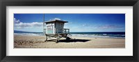 Framed Lifeguard hut on the beach, 8th Street Lifeguard Station, Manhattan Beach, Los Angeles County, California, USA