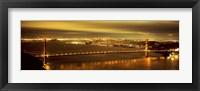 Framed Golden Gate Bridge and San Francisco Skyline Lit Up at Night