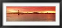 Framed Bay Bridge with city skyline, San Francisco, California, USA