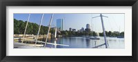 Framed Sailboats in a river with city in the background, Charles River, Back Bay, Boston, Suffolk County, Massachusetts, USA
