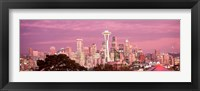 Framed Night view of Seattle, King County, Washington State, USA 2010