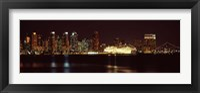 Framed San Diego Skyline at Night