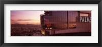 Framed Hotel lit up at dusk, Palms Casino Resort, Las Vegas, Nevada, USA