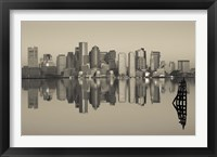 Framed Reflection of buildings in water, Boston, Massachusetts, USA
