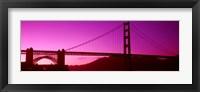 Framed Low angle view of a suspension bridge, Golden Gate Bridge, San Francisco Bay, San Francisco, California, USA