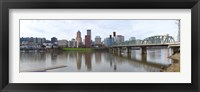 Framed Bridge across a river with city skyline in the background, Willamette River, Portland, Oregon 2010