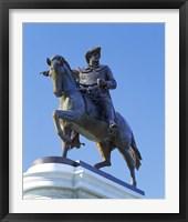 Framed Statue of Sam Houston pointing towards San Jacinto battlefield against blue sky, Hermann Park, Houston, Texas, USA