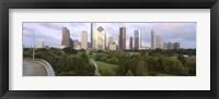Framed Skyscrapers against cloudy sky, Houston, Texas