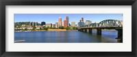 Framed Bridge across the river, Hawthorne Bridge, Willamette River, Portland, Multnomah County, Oregon, USA