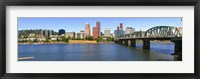 Framed Bridge across the river, Hawthorne Bridge, Willamette River, Portland, Multnomah County, Oregon, USA