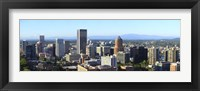 Framed Cityscape with Mt St. Helens and Mt Adams in the background, Portland, Multnomah County, Oregon, USA 2010