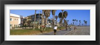 Framed People riding bicycles near a beach, Venice Beach, City of Los Angeles, California, USA