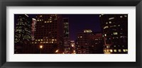 Framed Buildings lit up at night, City of Los Angeles, California