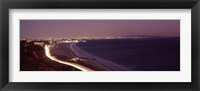 Framed City lit up at night, Highway 101, Santa Monica, Los Angeles County, California, USA