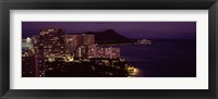 Framed Honolulu at night, Hawaii