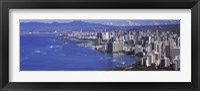 Framed High angle view of a city at waterfront, Honolulu, Oahu, Honolulu County, Hawaii