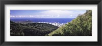 Framed Mountains with city at coast in the background, Honolulu, Oahu, Honolulu County, Hawaii, USA