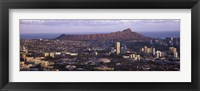 Framed City view of Honolulu with mountain in the background, Oahu, Honolulu County, Hawaii, USA 2010